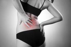 Kobieta z backache Ból w ciele ludzkim obraz royalty free