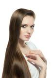 Kobieta z Bardzo Tęsk i Gładzi włosy Zdjęcie Royalty Free