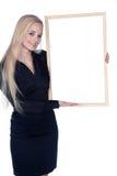 Kobieta z białą deską Zdjęcie Royalty Free