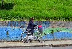 Kobieta z bicyklem na ulicie zdjęcie stock
