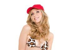 Kobieta z bikini i kapeluszem Obrazy Stock
