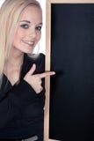 Kobieta z blackboard Obrazy Royalty Free