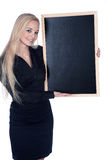 Kobieta z blackboard Obrazy Stock
