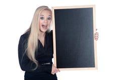 Kobieta z blackboard Fotografia Stock