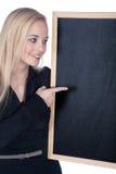 Kobieta z blackboard Obraz Royalty Free