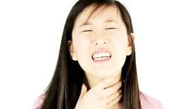 Kobieta z bolesnego gardła cierpieniem bez głosu zdjęcie wideo