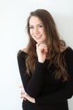 Kobieta z Brown włosy i Pięknymi niebieskimi oczami Zdjęcie Stock