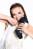 Kobieta z butem Fotografia Royalty Free