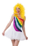 Kobieta z colourful peruką odizolowywającą Obrazy Royalty Free