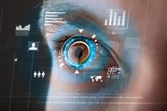 Kobieta z cyber technologii oka panelu pojęciem obrazy stock