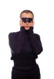 Kobieta z czarnym lampasem na oczach Fotografia Royalty Free