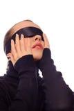 Kobieta z czarnym lampasem na oczach Obrazy Royalty Free