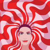Kobieta z czerwonego i białego włosy kolorem Obrazy Stock