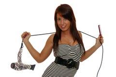 Kobieta z długie włosy mienia włosianą suszarką zdjęcie stock