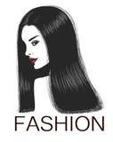 Kobieta z długim ciemnym silky włosy Ilustracja Wektor