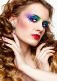 Kobieta z długimi złotymi hairs Zdjęcia Royalty Free