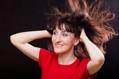 Kobieta z disheveled włosy Zdjęcie Royalty Free