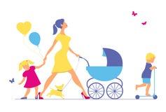 Kobieta z dwa psami i dziećmi Super matka spacery Zdjęcie Royalty Free