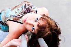 Kobieta z ekspresyjnymi oczami fotografia royalty free