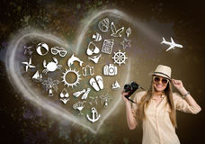 Kobieta z fotografii kamerą i obrazkową wakacyjną ikoną zdjęcia stock