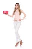 Kobieta z giftbox odizolowywającym Fotografia Royalty Free