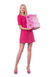 Kobieta z giftboxes Obrazy Royalty Free