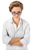 Kobieta z gniewnym spojrzeniem Dokuczający gapienie fotografia stock