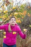 Kobieta z jabłonią Zdjęcia Royalty Free