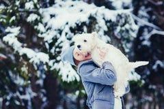 Kobieta z jej pięknym psem obraz royalty free