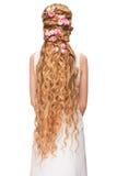 Kobieta z Kędzierzawy Długie Włosy Zdjęcie Royalty Free