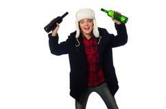 Kobieta z kapeluszem w śmiesznym pojęciu obraz stock