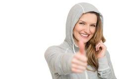 Kobieta z kciukiem up Zdjęcia Royalty Free