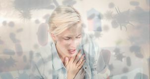 Kobieta z klatka piersiowa bólem i bakteryjna komórka 4k zdjęcie wideo