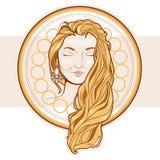 Kobieta z kolczykami Ręka rysunek w nowożytnym stylu Obraz Stock