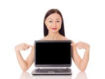 Kobieta z komputerem Obrazy Royalty Free