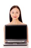 Kobieta z komputerem Zdjęcia Stock