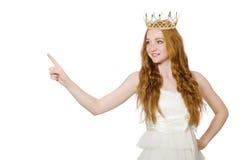 Kobieta z koroną odizolowywającą na bielu obraz royalty free