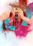 Kobieta z kreatywnie jaskrawą sztuką Obraz Royalty Free