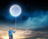 Kobieta z księżyc Obrazy Royalty Free