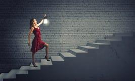 Kobieta z lampionem Obraz Stock