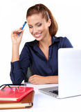Kobieta z laptopem Obraz Royalty Free