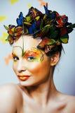 Kobieta z latem kreatywnie uzupełniał jak czarodziejski motyli zbliżenie Zdjęcie Stock
