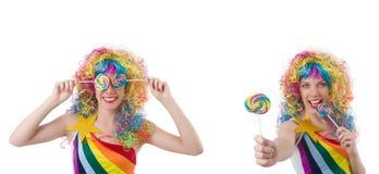 Kobieta z lollypop odizolowywaj?cym na bielu zdjęcia royalty free