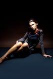 Kobieta z luksusowym fryzury i profesjonalisty makeup obrazy royalty free