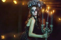 Kobieta z makeup dla Halloween zdjęcie royalty free