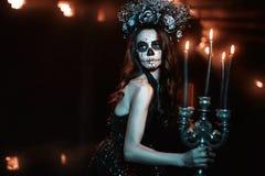 Kobieta z makeup dla Halloween zdjęcia royalty free