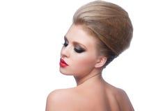 Kobieta z makeup i fryzurą Fotografia Stock