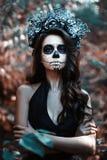 Kobieta z makijażem dla Halloween obraz royalty free