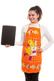 Kobieta z menu deską Fotografia Stock
