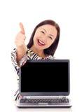 Kobieta z monitorem. Zdjęcia Stock